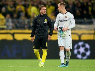Marc-Andre ter Stegen (r.) und Mario Götze. ©FIRO/SID firo Sportphoto/Christopher Neundorf