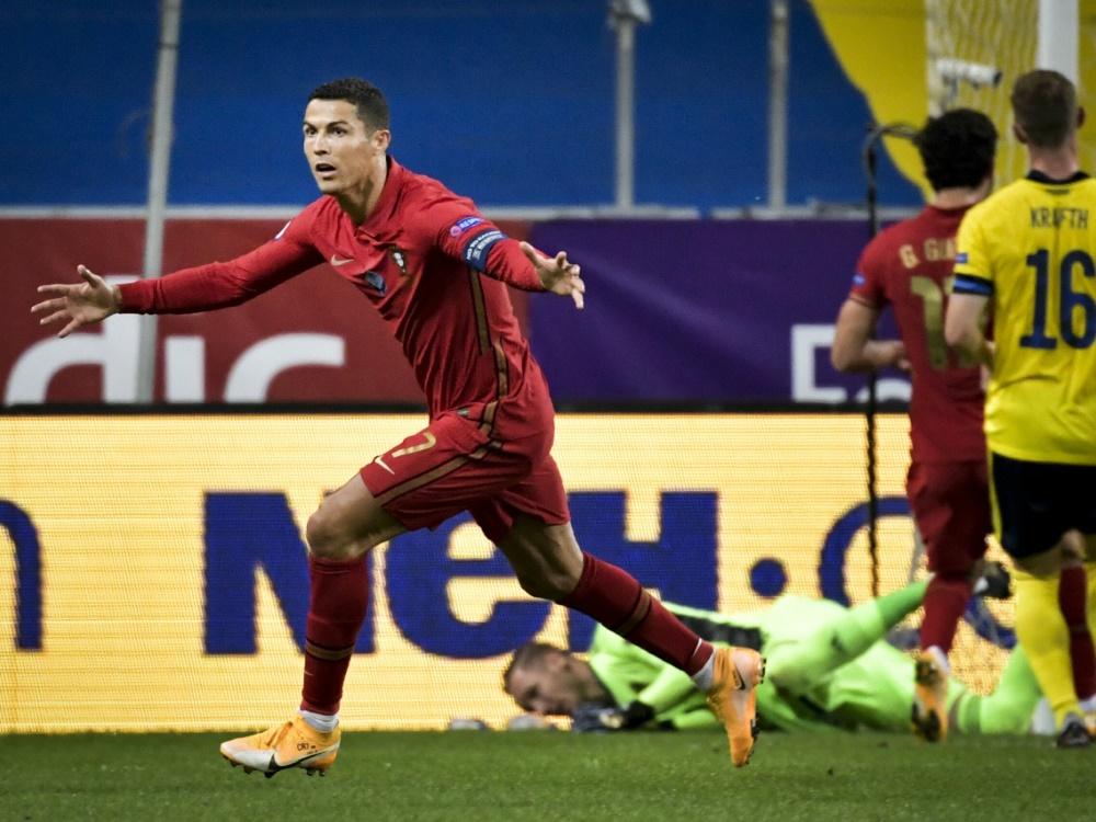 Cristiano Ronaldo: 100 Treffer für Portugal. ©SID JANERIK HENRIKSSON