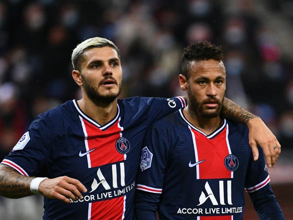 Icardi (l.) traf gegen Stade Reims doppelt. ©SID FRANCK FIFE