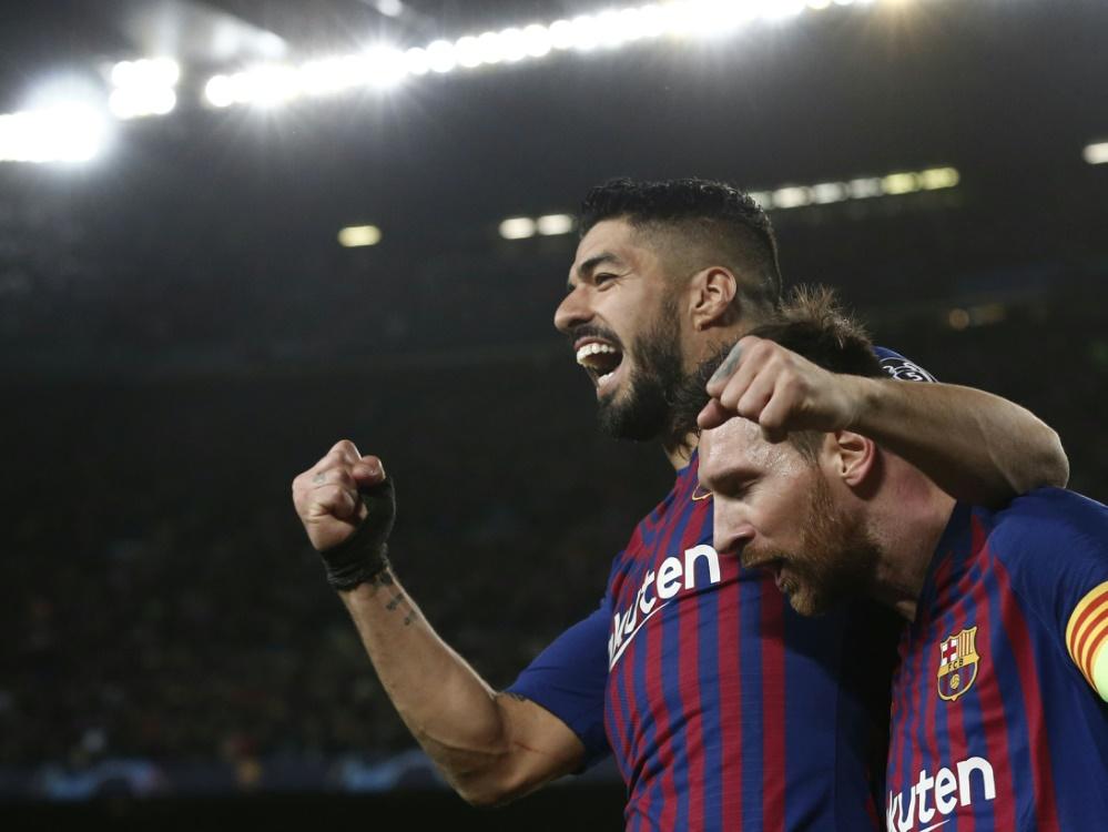 Beste Freunde: Luis Suarez (l.) und Lionel Messi. ©SID PAU BARRENA