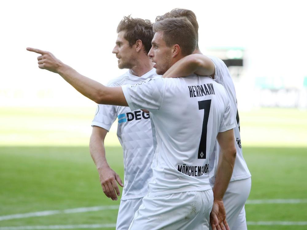 DFB-Pokal: Patrick Herrmann (Nr. 7) trifft doppelt. ©FIRO/SID
