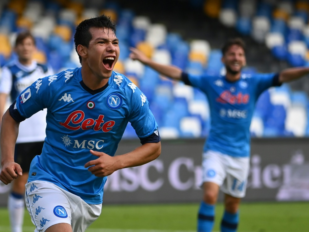 Hirving Lozano trifft gegen Bergamo doppelt. ©SID ALBERTO PIZZOLI