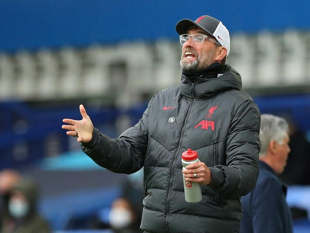 Klopp und Liverpool verpassen Derbysieg. ©SID Peter Byrne