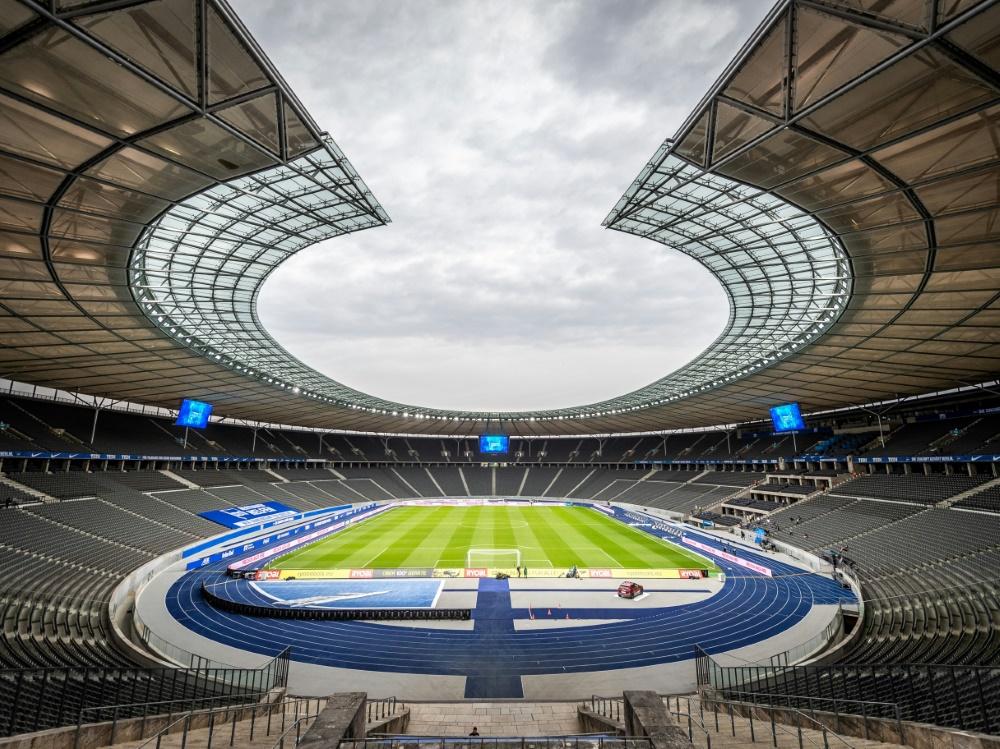 Auch die Ränge des Olympiastadions bleiben vorerst leer. ©FIRO/Hertha BSC Pool/SID
