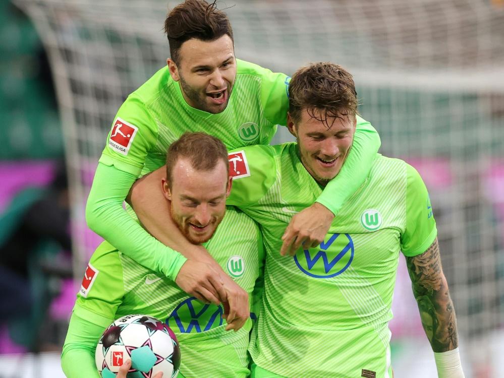 Der VfL Wolfsburg bezwingt Arminia Bielefeld 2:1. ©FIRO/SID