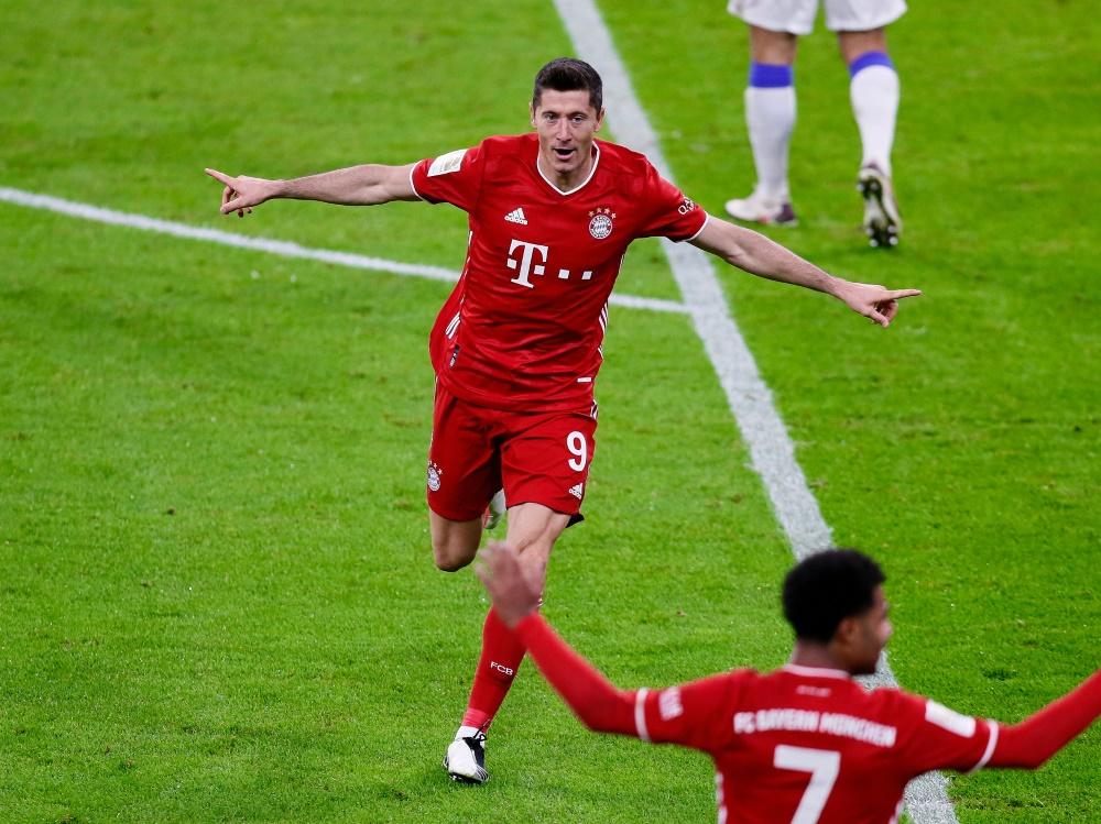 Robert Lewandowski erzielte gegen Berlin vier Tore. ©FIRO/SID