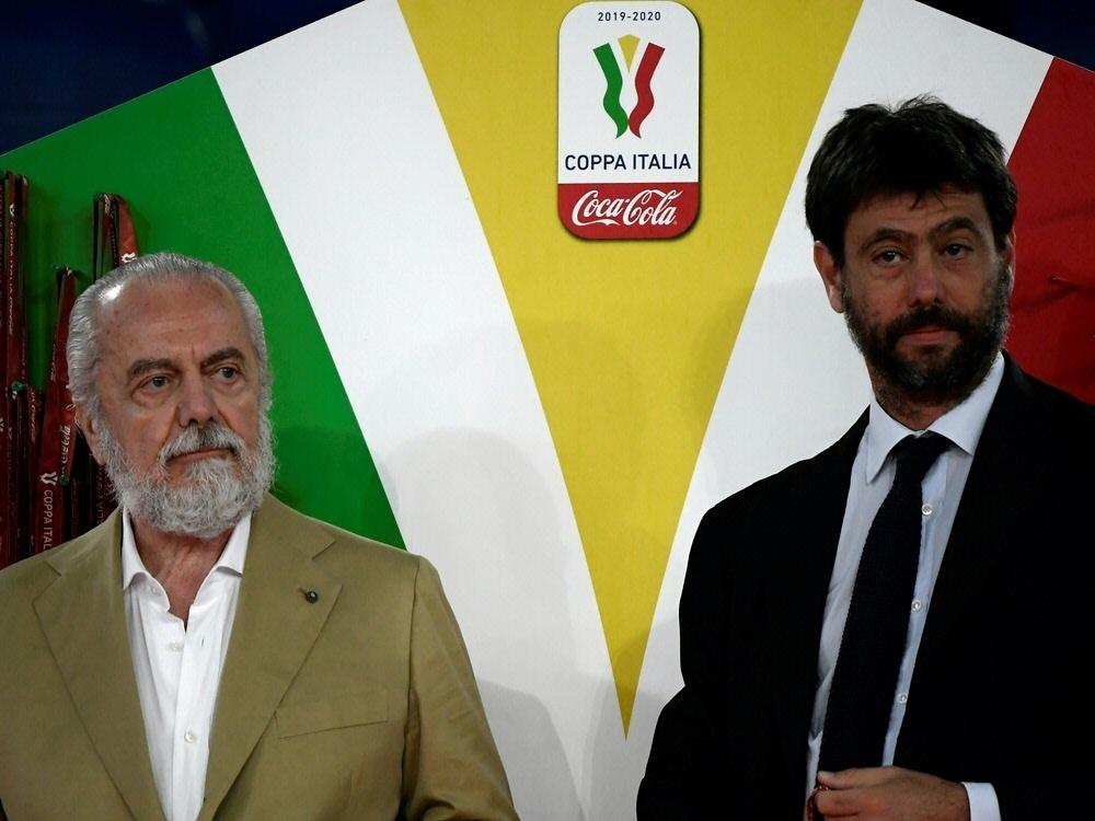 Aurelio De Laurentiis (l.) und Andrea Agnelli. ©SID FILIPPO MONTEFORTE