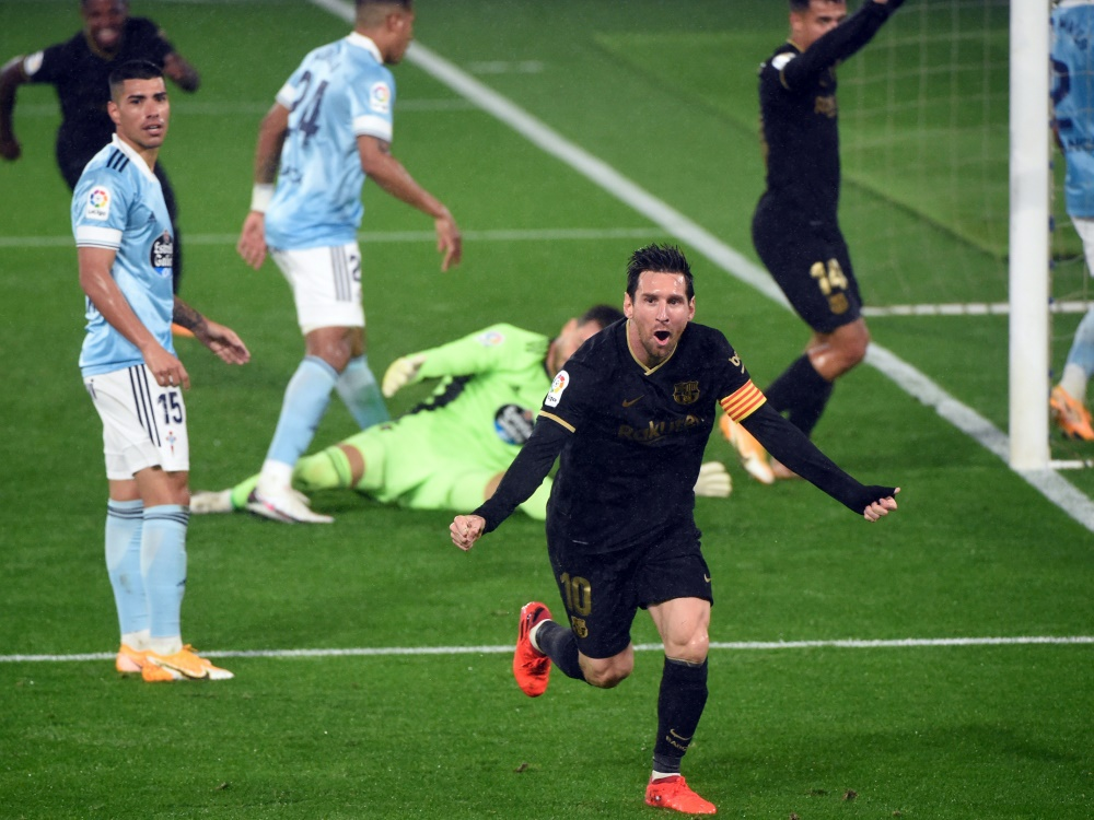 Jubel über den Sieg bei Celta Vigo: Messi und Barcelona. ©SID MIGUEL RIOPA