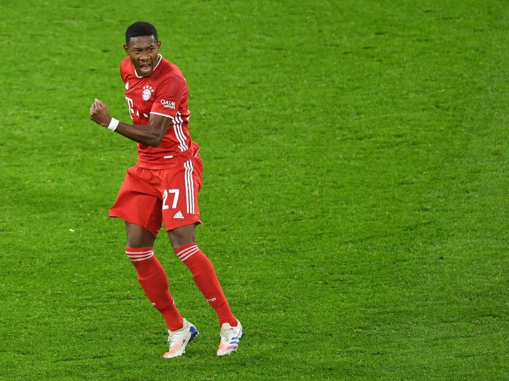David Alaba bejubelt seinen Treffer gegen den BVB. ©FIRO/SID