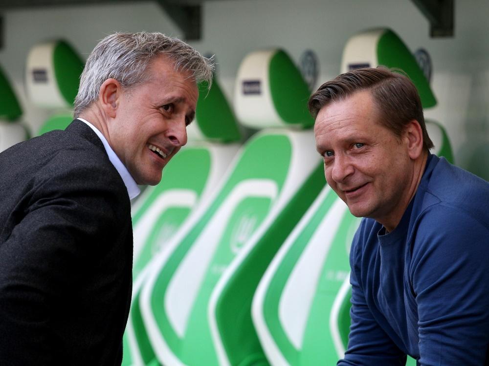 Pierre Littbarski (l.) traut Heldt die Wende beim FC zu. ©FIRO/SID