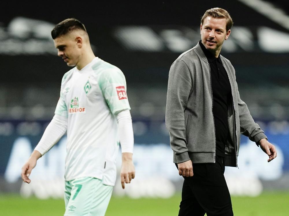 Stürmer Milot Rashica (l.) und Trainer Florian Kohfeldt. ©FIRO/SID