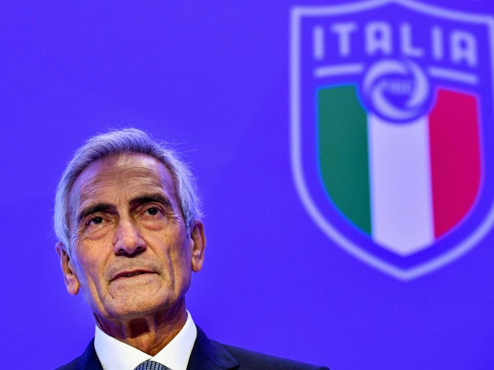 Italiens Fußball-Verbandschef Gabriele Gravina. ©SID ALBERTO PIZZOLI