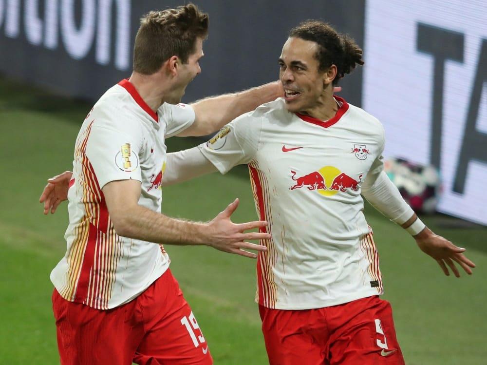 Erzielte das 1:0 der Leipziger: Yussuf Poulsen (r.). ©SID RONNY HARTMANN