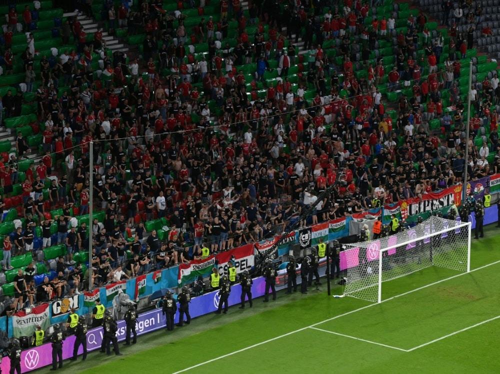 """Keine """"größeren Zwischenfälle"""" nach dem Ungarn-Spiel. ©SID MATTHIAS HANGST"""