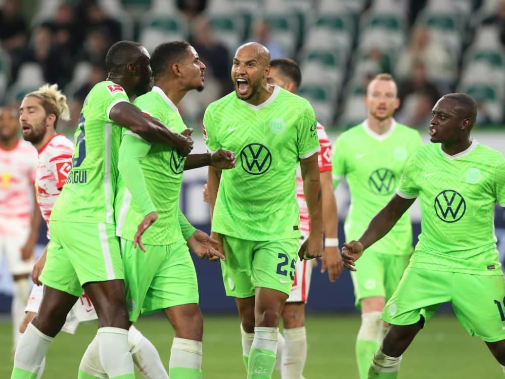 Wolfsburg gewinnt auch gegen Leipzig  . ©FIRO/SID .