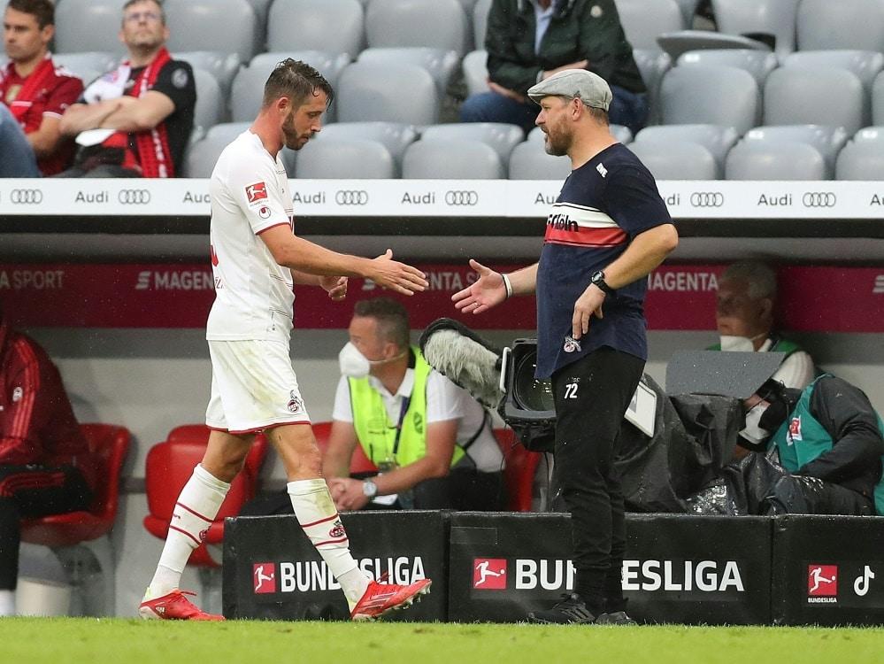 Kölns Mark Uth (l.) und Trainer Steffen Baumgart . ©FIRO/SID