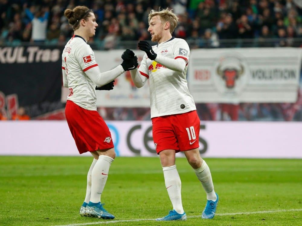Die Mittelfeld-Asse Marcel Sabitzer und Emil Forsberg. ©SID ODD ANDERSEN