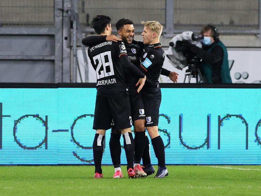 1. FC Magdeburg gewinnt gegen Borussia Dortmund II . ©FIRO/SID