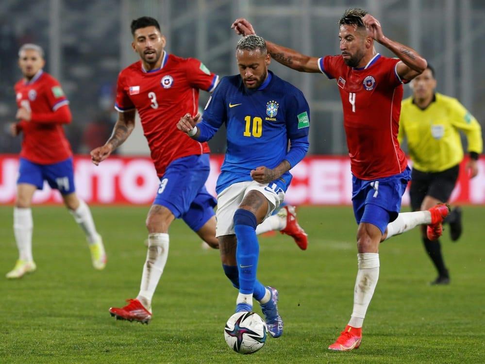 1:0 für Neymar und Brasilien in Chile. ©POOL/SID CLAUDIO REYES